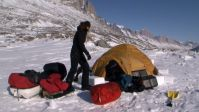 Dismantling one of the camps during a polar ski expedition