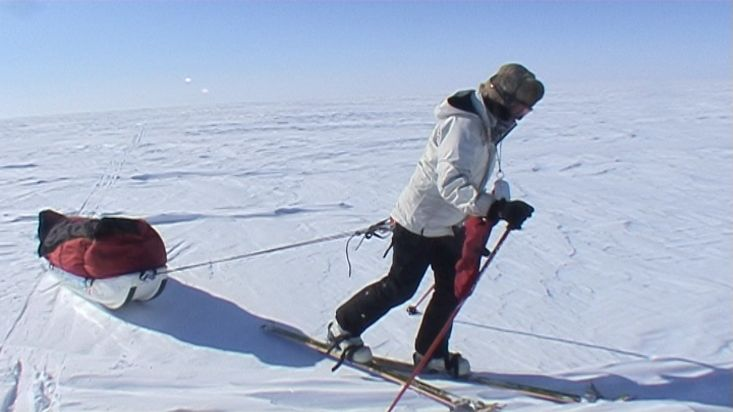 Ingrid skiing on the glacier plateau - Penny Icecap 2009 expedition